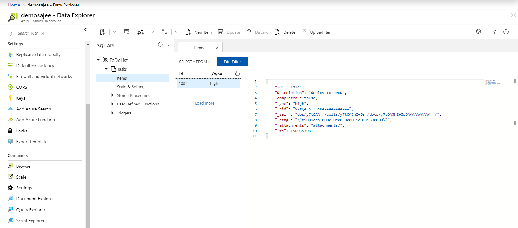 Build hybrid apps with Cosmosdb + Ionic – Virtual Notepad